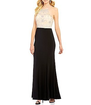 Masquerade Illusion-Yoke Beaded-Bodice Color Block Long Dress