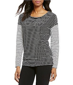 Calvin Klein Performance Boat Neck Long Sleeve Spirited Striped Knit Top