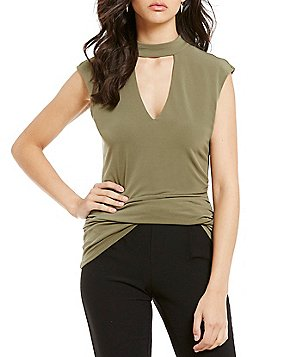 Soulmates Choker-Neck Ruched Cap-Sleeve Top
