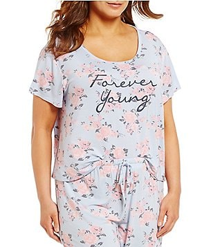Jasmine & Ginger Plus Forever Young Floral Jersey Sleep Top