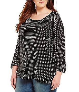 Chelsea & Theodore Plus 3/4 Sleeve Dot Blouse