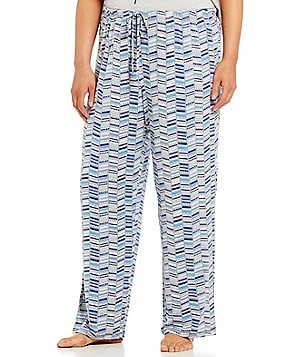 Jasmine & Ginger Plus Chevron Geometric-Print Jersey Sleep Pants