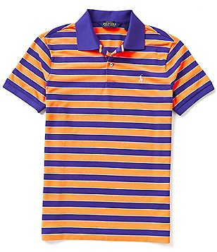 Polo Golf Performance Horizontal-Stripe Pique Short-Sleeve Polo Shirt