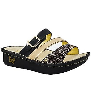 Alegria Colette Leather Triple Banded Buckle Slide On Sandals