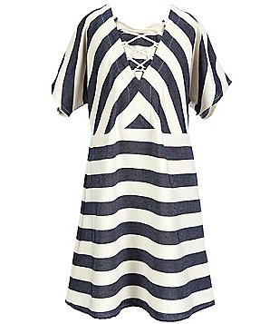 Copper Key Big Girls 7-16 Lace-Up Nautical Striped A-line Dress