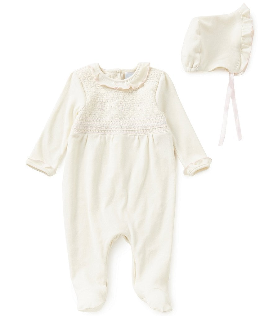Edgehill Collection Baby Girls Newborn-6 Months Smocked Coverall & Bonnet Set