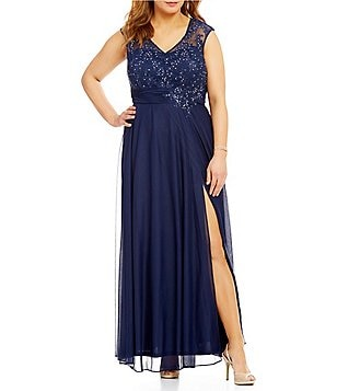 Cachet Plus Cap-Sleeve Embroidered Lace Gown