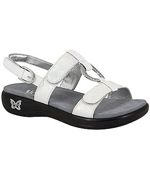 Alegria Julie Leather Decorative Metal Ring Backstrap Flat Sandals