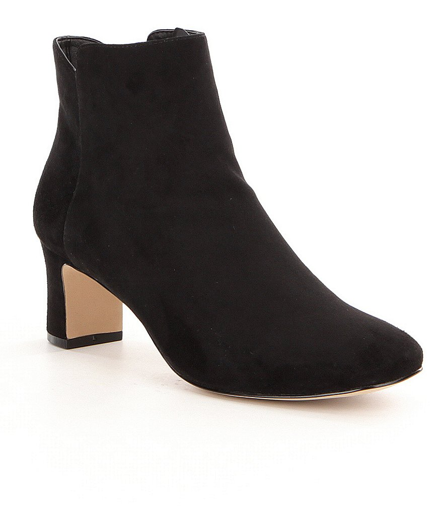 Donald J Pliner Jakk Suede Side Zip Block Heel Booties