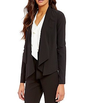 Soulmates Zippered-Collar Draped Open-Front Jacket