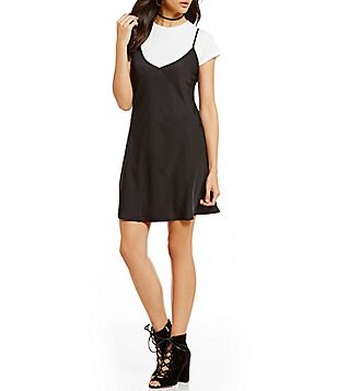 Soulmates Two-Fer Short-Sleeve Slip Dress