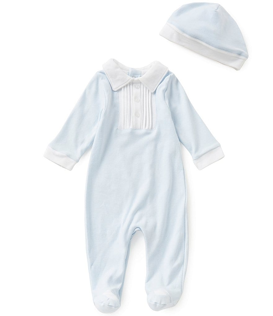 Edgehill Collection Baby Boys Newborn-6 Months Pleated Coverall & Hat Set