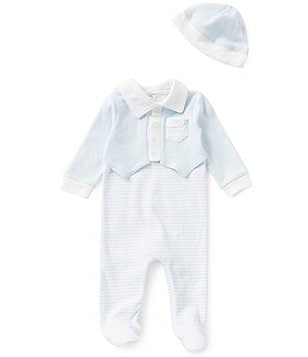 Edgehill Collection Baby Boys Newborn-6 Months Mock Vest Striped Coverall & Hat Set