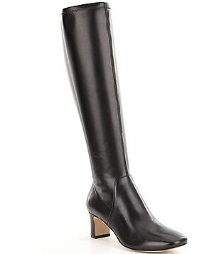 Donald J Pliner Jam Leather Square Toe Block Heel Boots