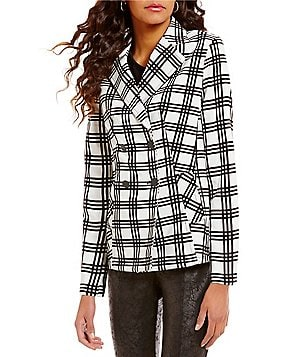 Jones New York Plaid Double-Breasted Blazer