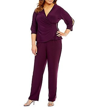R&M Richards Plus Rhinestone-Trim 2-Piece Pant Set