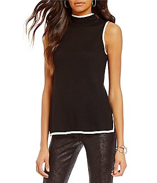 Jones New York Sleeveless Mock Neck Contrast Trim Knit Tunic