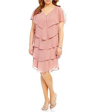 S.L. Fashions Plus Georgette Tiered Short Sleeve Capelet Dress