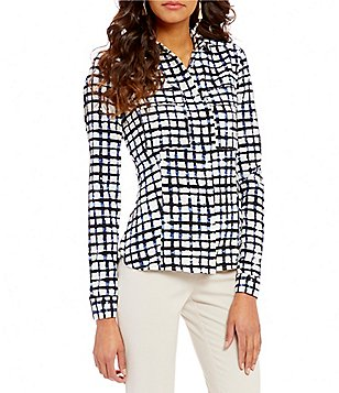 Jones New York Point Collar Long Sleeve Windowpane Plaid Shirt