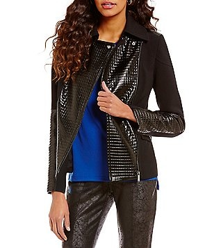 Jones New York Faux-Patent Quilted Leather Patch Notch Collar Moto Jacket