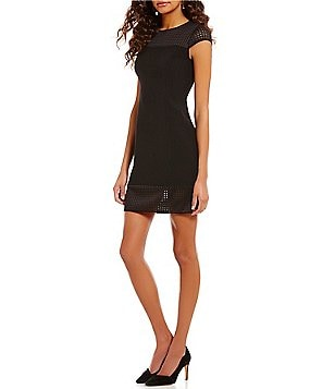 Jones New York Round Neck Short Sleeve Scuba Mesh Trim Sheath Dress