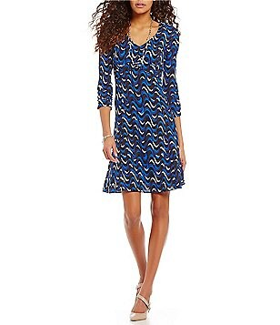 Jones New York Wavy Geometric Print A-Line V-Neck Dress