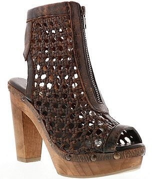 Sbicca Nitra Leather Woven Caged Peep Toe Low Platform Booties