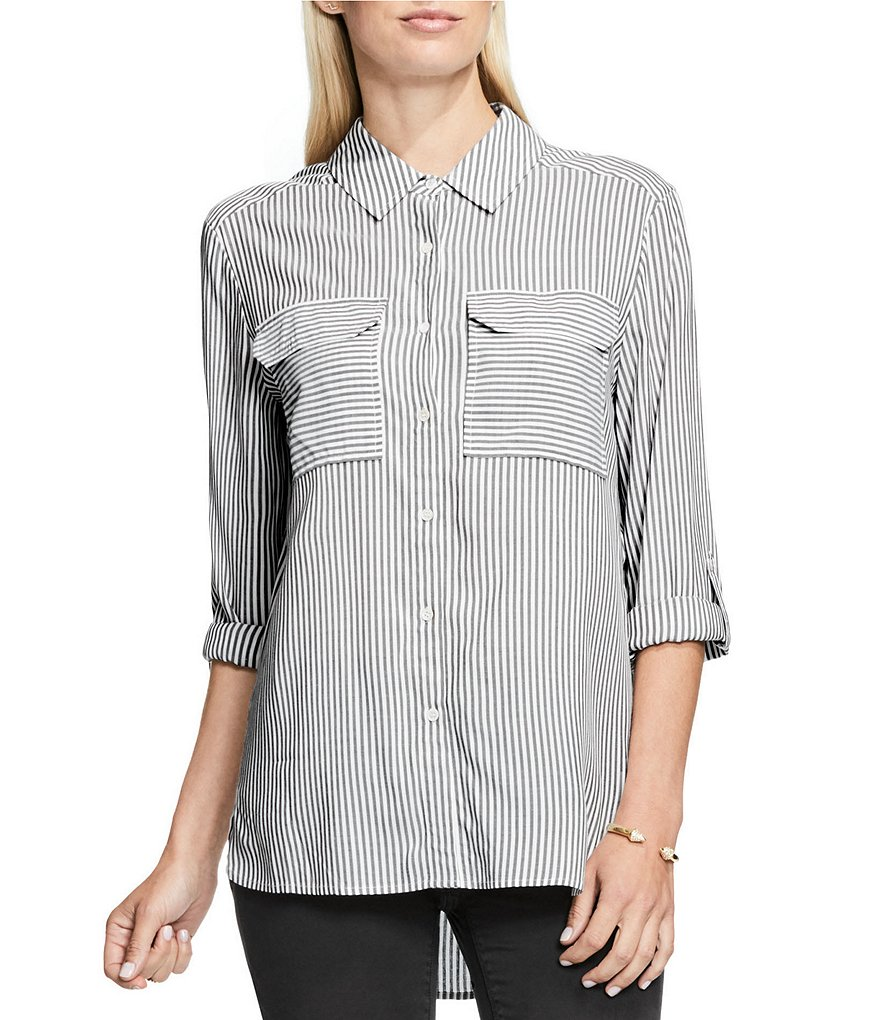 Vince Camuto V-Neck Long Sleeve Striped Relaxed Utility Shirt