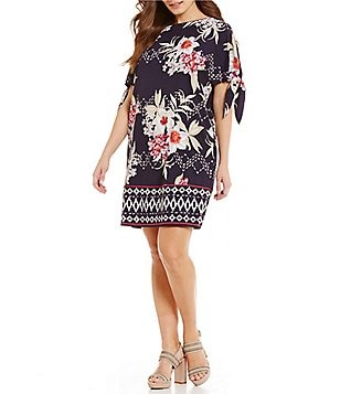 Vince Camuto Plus Floral Print Short Sleeve with Knot Shift Dress