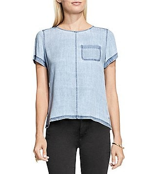 Vince Camuto Chambray Short Sleeve Pastel Fade One-Pocket Swing Top