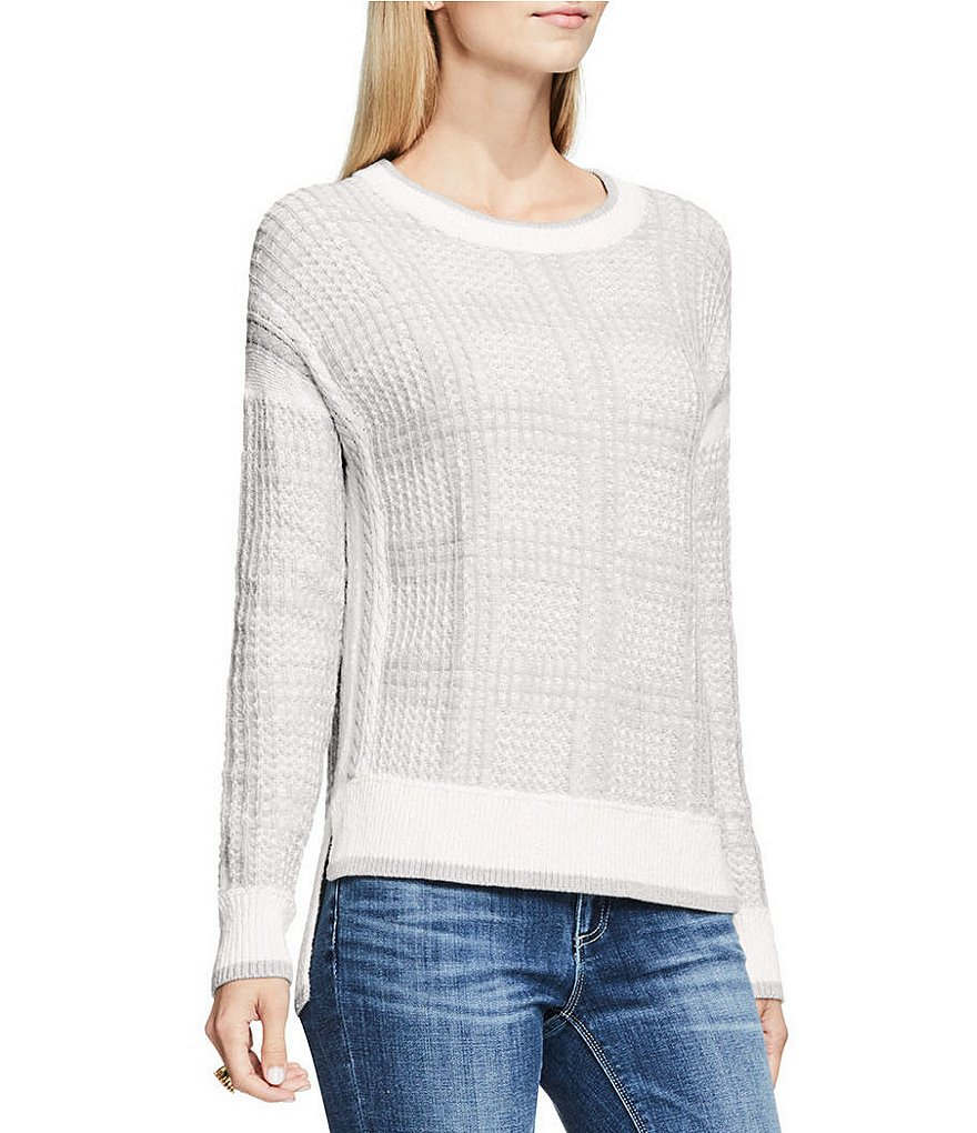 Vince Camuto Drop-Shoulder Box Plaid Jacquard Pullover Sweater