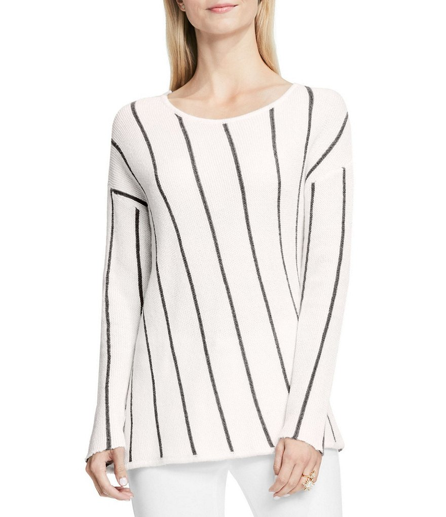 Vince Camuto Asymmetric Novelty Striped Wool Pullover Top
