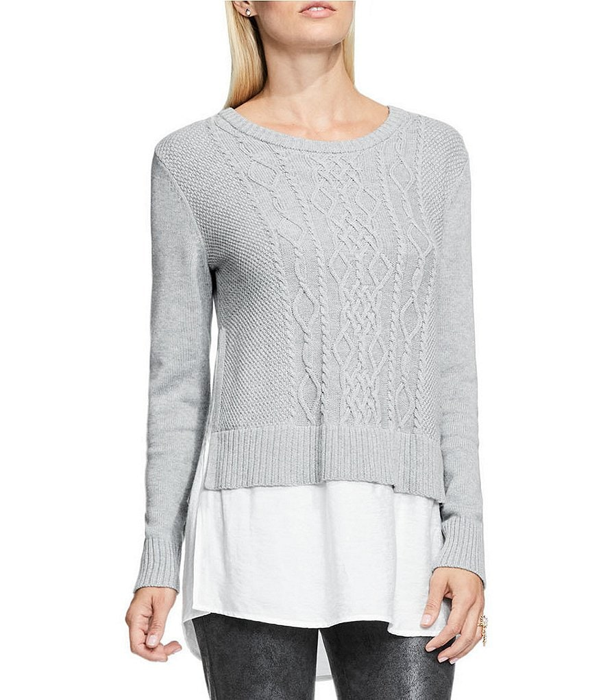 Vince Camuto Cable Knit Pullover Sweater with Rumpled Shirttail