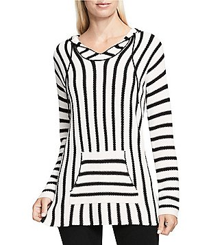 Vince Camuto Hooded V-Neck Long Sleeve Seed Stitch Striped Pullover