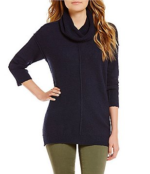 Vince Camuto Long Sleeve Exposed Seam Cowl Neck Pullover Sweater