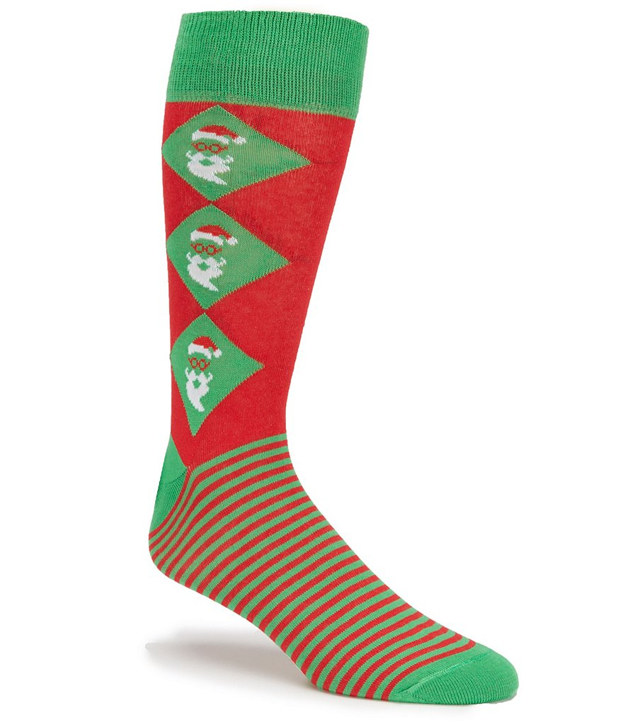 Cremieux Holiday Stripe Argyle Crew Socks