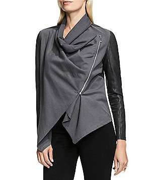 Vince Camuto Foil Ponte and Space Dye Drape Front Asymmetrical Zipper Jacket