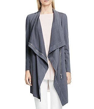 Vince Camuto Space Dyed Long Open-Front Drape Neck Knit Jacket