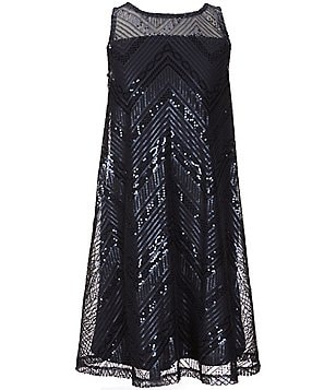 GB Girls Big Girls 7-16 Chevron Sequin Illusion Yoke Trapeze Dress