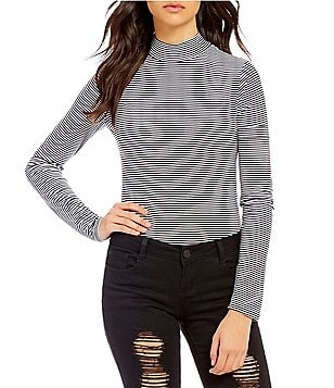 GB Mock Neck Long Sleeve Striped Bodysuit