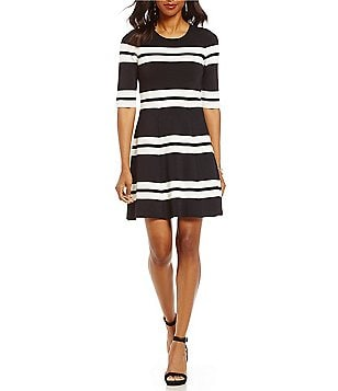 Eliza J Stripe Slick Knit Elbow Sleeve Fit-and-Flare Dress