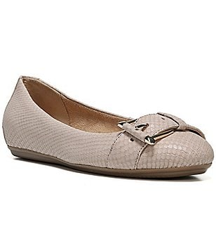 Naturalizer Bayberry Reptile Print Buckle Slip On Ballerina Flats