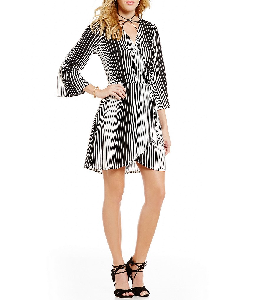 GB Striped Surplice V-Neck A-Line Wrap Dress