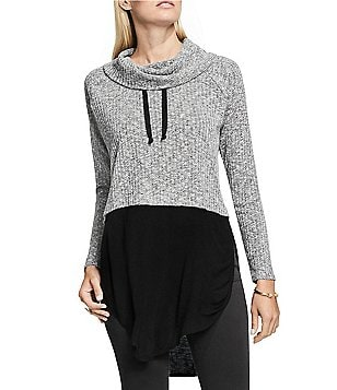 Vince Camuto Rib Knit Mock Crop Funnel Neck Top