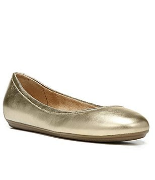 Naturalizer Brittany Metallic Leather Round Toe Slip On Ballerina Flats