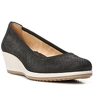 Naturalizer Bronwyn Perforated Leather Slip-On Wedges
