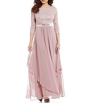 Jessica Howard Petite Round Neck 3/4 Sleeve Lace Bodice Chiffon Gown