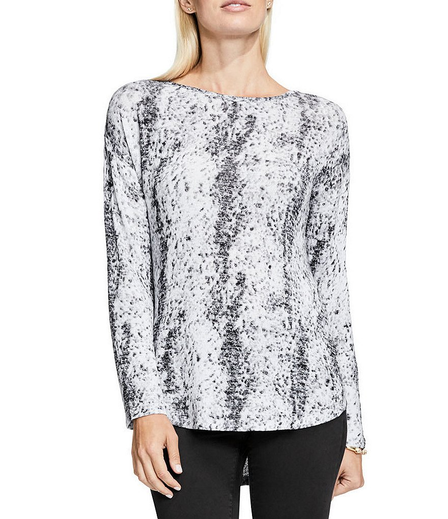 Vince Camuto Long Sleeve Drop-Shoulder Canvas Sketches Knit Top