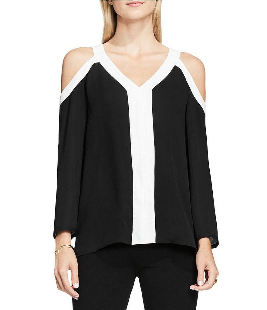 Vince Camuto Long Sleeve Cold-shoulder Colorblock Blouse