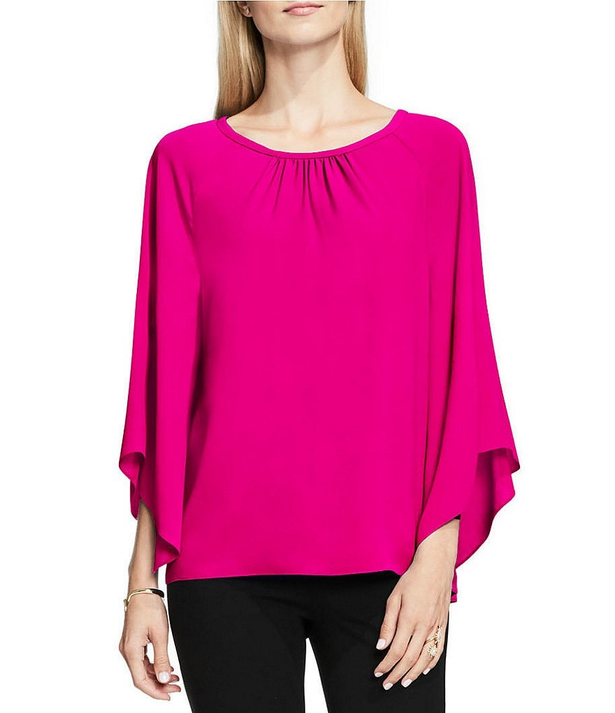 Vince Camuto Pleated Round Neck Kimono Sleeve Solid Blouse